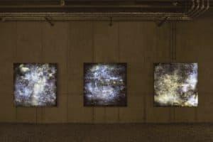 Haager Deep Field (The blow-ups) No. 2 Surge Nebula / No. 1 Twinkle Nebula / No 3 Glitter Nebula, jew. 2015, Backlit Film hinterleuchtet, jew. 150 x 150 x 12 cm